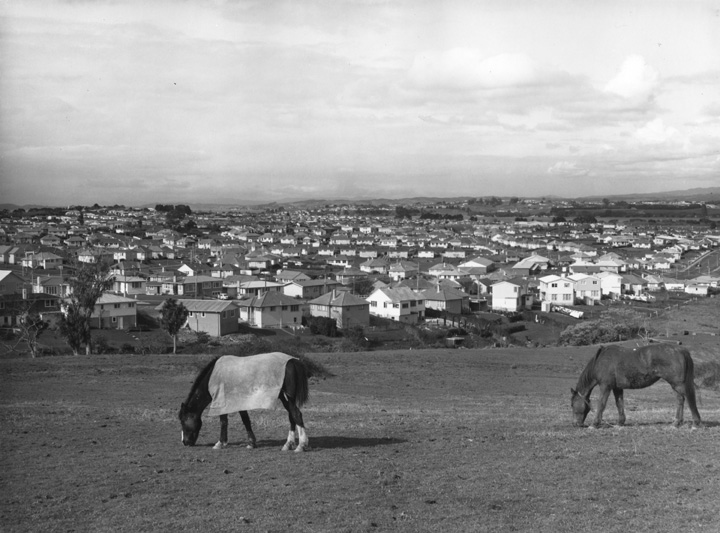 Looking east over Glen Innes state housing, 1960's. Sir George Grey Special Collections, Auckland Libraries, 895-A74175