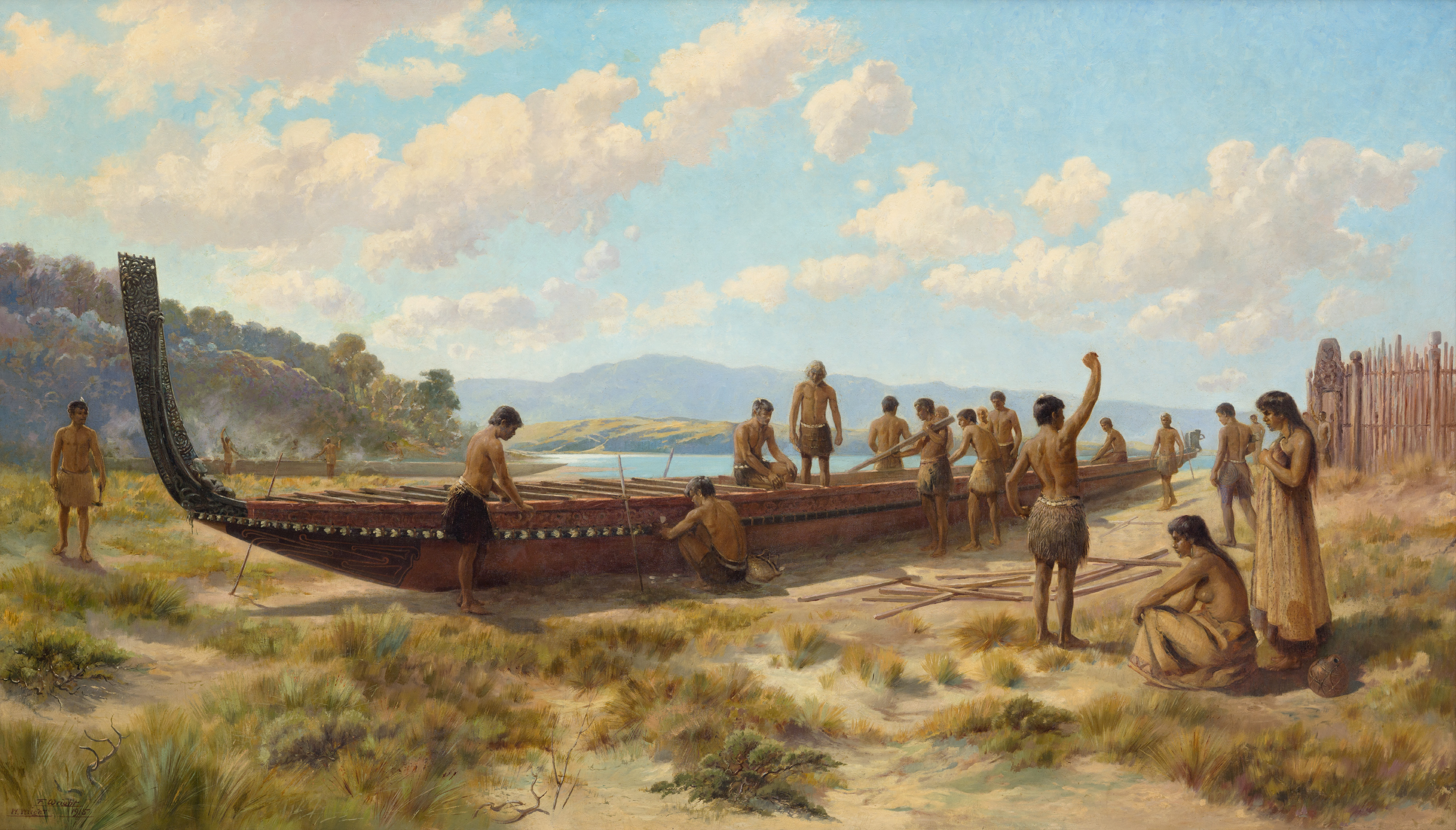 THE CANOE BUILDERS; OIL ON CANVAS; FRANK WRIGHT, WALTER WRIGHT. COURTESY OF AUCKLAND ART GALLERY