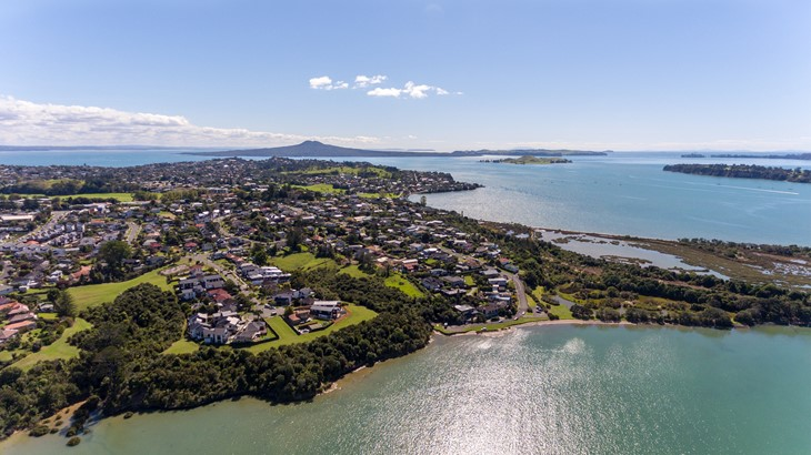 New properties in Waiotaiki Bay with the Sandspit and Tahuna Torea Reserve right of shot.